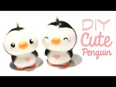 Kawaii Love Penguins ^_^ polymer clay charm tutorial