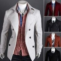 Wish | Men's Casual Short double breasted wool coat slim