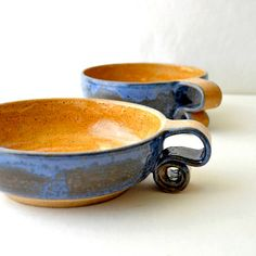 Ceramic Cereal Bowls  scroll handle pottery by GlazedOver on Etsy, $54.00