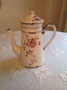 Antique French Floral Enamel Coffee Pot