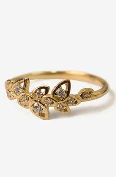 Diamond Art Deco Petal Engagement Ring