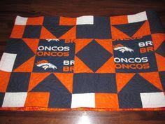 Handmade Quilted Table Runner  NFL Denver Broncos Football Orange Blue White #Handmade