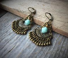 Micro Teardrop Chandelier Earrings With Mint by McHughCreations