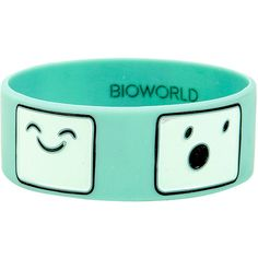 Adventure Time BMO Emotions Rubber Bracelet Hot Topic (6200 IQD) ❤ liked on Polyvore featuring jewelry, bracelets, rubber jewelry, rubber bangles, comic jewelry, cartoon jewelry and comic book