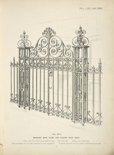 Wrought iron gates and railing with posts.