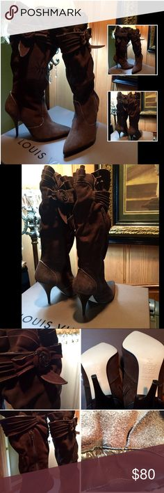 BROWN SUEDE & LEATHER TRIM ROSETTE DESIGN BOOTS HAS A RUFFLE ROSETTE DESIGN ELEMENT AT THE KNEE SUPER SEXY BOOT OVER JEANS LIKE NEW NEVER WORE THESE YET NEED THE FUNDS & MUST SELL NO BOX PRICED TO SELL ANDREA FENZI Shoes Heeled Boots