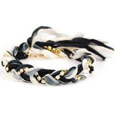 Oro trenzado Vintage Multi Ribbon Negro y cristal del Rhinestone pulsera