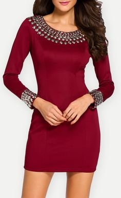 Red Long Sleeve Bodycon Studded Dress