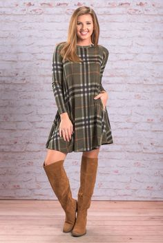 """""""Professional Opinion Dress, Olive"""" In our professional opinion, you need....no, deserve this dress! The plaid is so classic and popular this time of year! #newarrivals #shopthemint"""