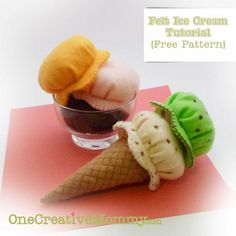Felt Ice Cream Tutorial and Free Pattern--for the little guy who just requested play food ice cream for Christmas Felt Crafts Patterns, Felt Crafts Diy, Felt Diy, Paper Crafts, Sewing For Kids, Diy For Kids, Crafts For Kids, Food Template, Crown Template
