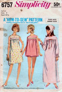 Simplicity 6757 Vintage Sewing Pattern Teen Girl Pajamas Baby Doll Nightgown Source by andersshoes Pajamas Baby Nightgown, Baby Doll Nighties, Nightgown Pattern, Baby Doll Pajamas, Girls Pajamas, Baby Dolls, Simplicity Sewing Patterns, Vintage Sewing Patterns, 60s Patterns