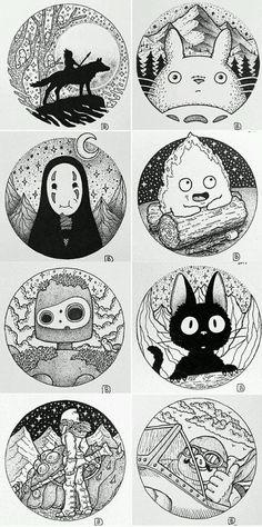 Compilation Princesse Monoké, Mon voisin Totoro, Le voyage de Chihiro, Le château ambualt, Le château dans le ciel, Kiki la petite sorcière, ???, Le château dans le ciel