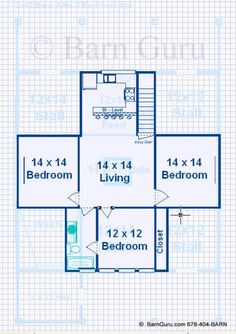 Barn Plans With Living Quarters -4 Stalls - 3 Bedrooms Design FP