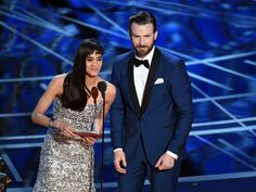 Evansland, Chris Evans and Sofia Boutella onstage presenting...