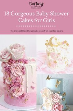 The prettiest Baby Shower cakes for girls from the most talented bakers all over the world. Get inspired with these stunning Baby Girl cakes. #babyshowercakes #girlbabyshowercakes #babyshowercakeforgirls #babyshowercakeideas #prettybabyshowercakes Baby Shower Advice, Baby Girl Shower Themes, Baby Shower Decorations, Shower Ideas, Amazing Baby Shower Cakes, Beautiful Baby Shower, Baby Shower Fall, Baby Boy Shower, Shower Party