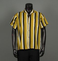 Vintage Mens 1950s Shirt -- Black and Gold Loop Collar Short Sleeve Shirt by Silver Wings -- Men's Size M/L 15 15-1/2