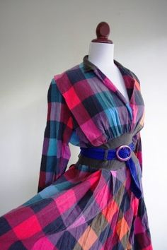 SALE Spring Plaid Vintage 1980s Dress by RetroKittenVintage, $25.00