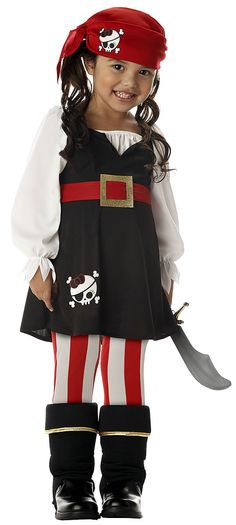 Your little one will look ready to pillage the town in this Precious lil' Pirate Halloween Costume. This adorable, authentic costume comes complete with a dress, bandana, boot tops, and tights. Toddler Girl Pirate Costume, Costume D'halloween Fille, Toddler Costumes, Costume Dress, Pirate Baby, Children Costumes, Costume Makeup, Thor Costume, Batgirl Costume