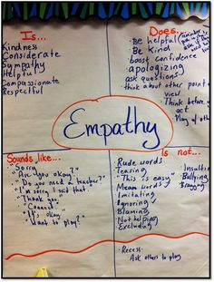 "kindness into the classroom with CARES Character education anchor chart for ""empathy,"" the 'E' in CARES.Character education anchor chart for ""empathy,"" the 'E' in CARES. Counseling Activities, Therapy Activities, Social Activities, Social Emotional Learning, Social Skills, Social Issues, Coping Skills, Teaching Empathy, Responsive Classroom"