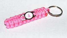Standard Paracord Survival Keychain - Breast Cancer Awareness Ribbon Charm on Etsy, $6.99