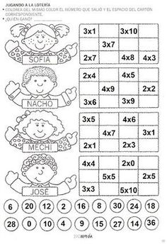 ACTIVIDADES FOTOCOPIABLES PARA NIVEL PRIMARIO: Multiplicación-Tablas. Learning Multiplication, Math Fractions, Multiplication Tables, Math Games, Math Activities, Printable Math Worksheets, Math Class, Math For Kids, Elementary Math