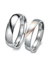 Wedding Bands JEULIA Heart Shaped Promise Ring For Couple Titanium Steel - Buy Two Tone Heart Titanium Steel Couple Rings online. Jeulia offers premium quality jewelry at affordable price, shop now! Heart Promise Rings, Promise Rings For Couples, Rings For Men, Couple Rings, Heart Rings, Promise Band, Couple Jewelry, Ring Set, Love Ring
