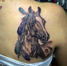 Today's tattoo gallery features Horse Tattoos, from tattoo designs to spiritual meanings to their lucky accessories! Cowgirl Tattoos, Western Tattoos, Tribal Tattoos, Native Tattoos, Tattoos Skull, Celtic Tattoos, Feather Tattoos, Body Art Tattoos, Great Tattoos