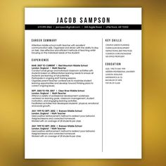Professional Resume Template   Free Cover Letter And References   Instant  Download   Infographic Elements JACOBSON | Pinterest | Free Cover Letter,  Resume ...