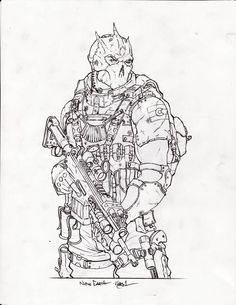 New Earth Dude by on DeviantArt Armor Concept, Concept Art, Adult Coloring Pages, Coloring Books, Art Sketches, Art Drawings, Arte Do Kawaii, Military Drawings, Mythology Tattoos