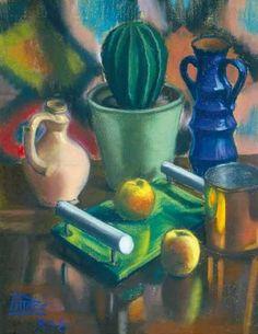 Csendélet kaktusszal, 1938: 19. aukció (2005. tavasz) 43.tétel Painting, Art, Art Background, Painting Art, Kunst, Paintings, Performing Arts, Painted Canvas, Drawings