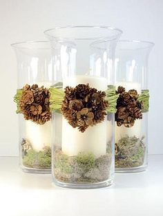 You could totally do this! Hurricane lamp or just a bunch of vases from a thrift store with some pine cone bits hot-glued together to decorate.