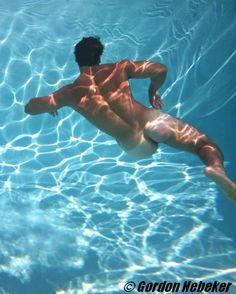 Men nude underwater