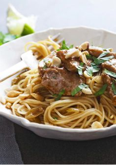 BBQ Pork Noodle Bowl – Texas-style BBQ sauce gets doctored up with soy sauce, lime juice and garlic to make this Asian-inspired pork noodle bowl.