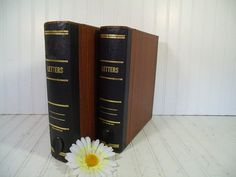 Vintage Amberg Letter Library Expanding File Folders Set - Retro Eclipse Book Style Wood Look CardBoard Latching Boxes with Alpha Separators $60.00 by DivineOrders