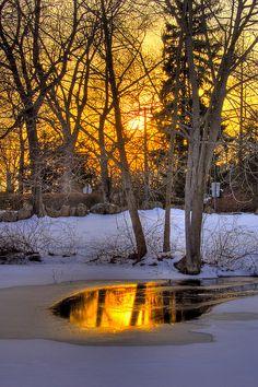 #Golden sunset reflection