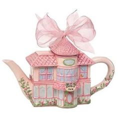 Rosebud Inn Teapot (caption previous pinner/s, with thanks) GRS says: Could we be more pink and girly? With a bow and everything. LOVE