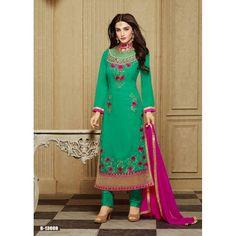 Eid Special Faux Georgette Green Salwar Kameez - 13008 B