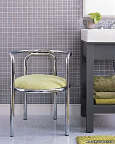 Chrome Chair  This chic seat has been reupholstered with a terry cloth towel, rendering this flea-market treasure perfect for the bathroom.  How to Make the Chrome Chair