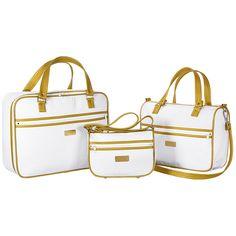 Conjunto de Bolsas Maternidade Coleção Imperial 03 Peças - Branco / Dourado - Paulo Cezar Enxovais