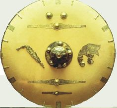 Anglo-Saxon shield made from lime wood, with iron boss and gilt bronze fittings (British Museum reconstruction)