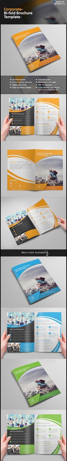 Multipurpose Bi-fold Brochure Vector Template EPS, AI #design Download: http://graphicriver.net/item/bifold-brochuremultipurpose/13535213?ref=ksioks