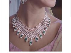 Saved by radha reddy garisa Gold Earrings Designs, Gold Jewellery Design, Necklace Designs, Diamond Necklace Set, Initial Pendant Necklace, Indian Wedding Jewelry, Bridal Jewelry, Emerald Jewelry, Diamond Jewellery