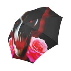 Abstract skull with roses Auto-Foldable Umbrella