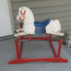 Rocking Horse Toy Spring Bounce Pony Train Rite Moulded   Etsy Shoe Rack Vintage, Rocking Horse Toy, Horse Mane, Retro Kids, Vintage Cross Stitches, Disney Christmas, Old Toys, Etsy Shipping, Kids Decor