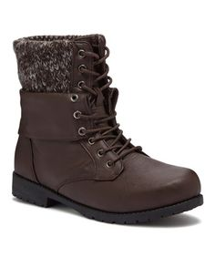 Another great find on #zulily! Brown Sweater Knit Cuff Combat Boot #zulilyfinds
