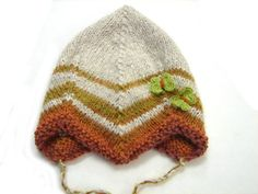 Beige baby hat with brown stripes and green by TinyOrchids on Etsy, $35.00