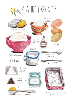 LAMINGTONS felicita sala illustration: illustrated recipes: april (with design sponge). Food and object illustration Recipe Drawing, Aussie Food, Watercolor Food, Food Painting, Food Journal, Food Drawing, Kitchen Art, Food Illustrations, Illustration Art