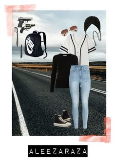 """""""Let's Go Hunting"""" by ihipstergurl ❤ liked on Polyvore featuring NIKE, H&M, Converse and Ray-Ban"""