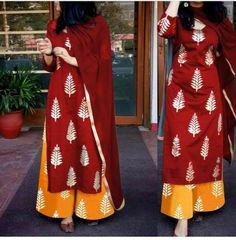 Extra Off Coupon So Cheap Indian Designer Suits Salwar Kameez Wedding Rayon Gold Printed Kurti Palazzo Printed Kurti Designs, Kurta Designs, Blouse Designs, Pakistani Dresses, Indian Dresses, Indian Outfits, Indian Attire, Indian Wear, Suits For Women