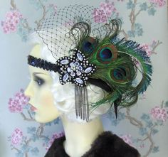 Peacock Feather Flapper Headband by talulahblue on Etsy, £32.00